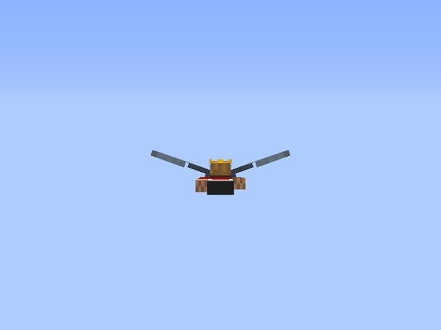 Afbeelding van een met elytra vliegend mannetje in de Sint-Maartenwereld in Minecraft