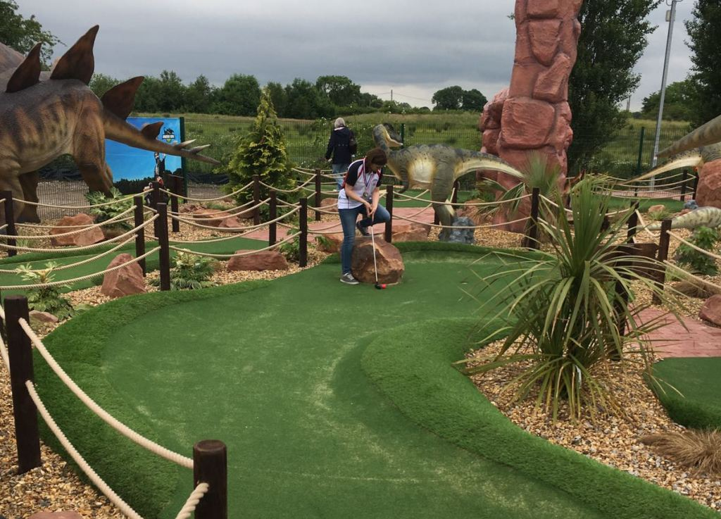 Emily In Action On The Dinosaur Themed Course At Bents Garden And Home
