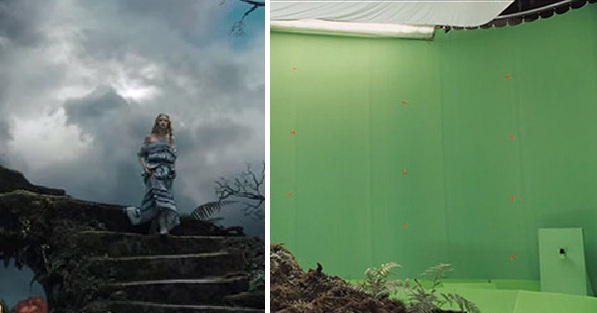Image slider showing green screen effects photos.