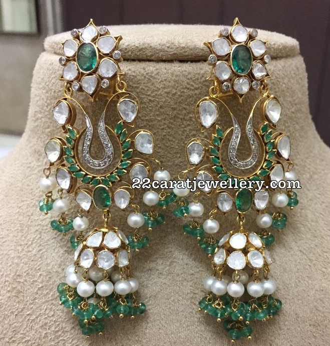 60ae9a5d62a3c Emerald Beads Necklace Large Pachi Jhumkas - Jewellery Designs