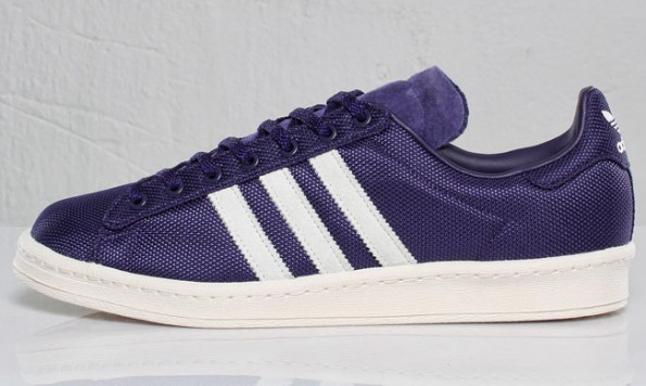 """best cheap e5f7b 19acc adidas Originals Campus 80s """"Eggplant"""". The shoe utilizes an  eggplant-colored hue along the upper, which by the way is composed of  ballistic nylon."""
