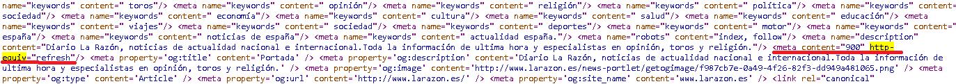 """Codigo fuente donde se emplea la etiqueta meta http-equiv=""""refresh"""""""