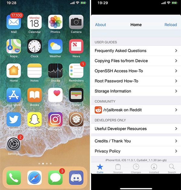 Cydia Installed on iOS 11.4.1 using CoolStar Electra1141 Jailbreak for iPhone, iPad, and iPod touch