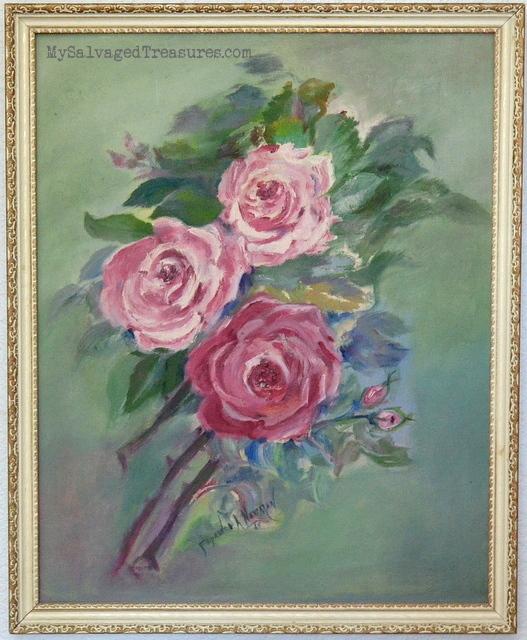 pink roses oil painting vintage