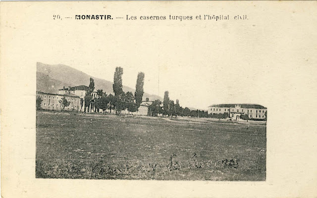 The Turkish barracks and the Military academy on the right (today Bitola Museum )
