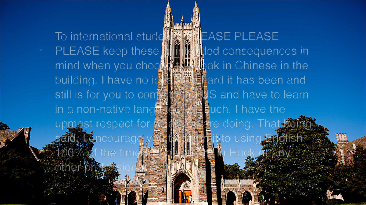 Duke professor warns students against speaking chinese