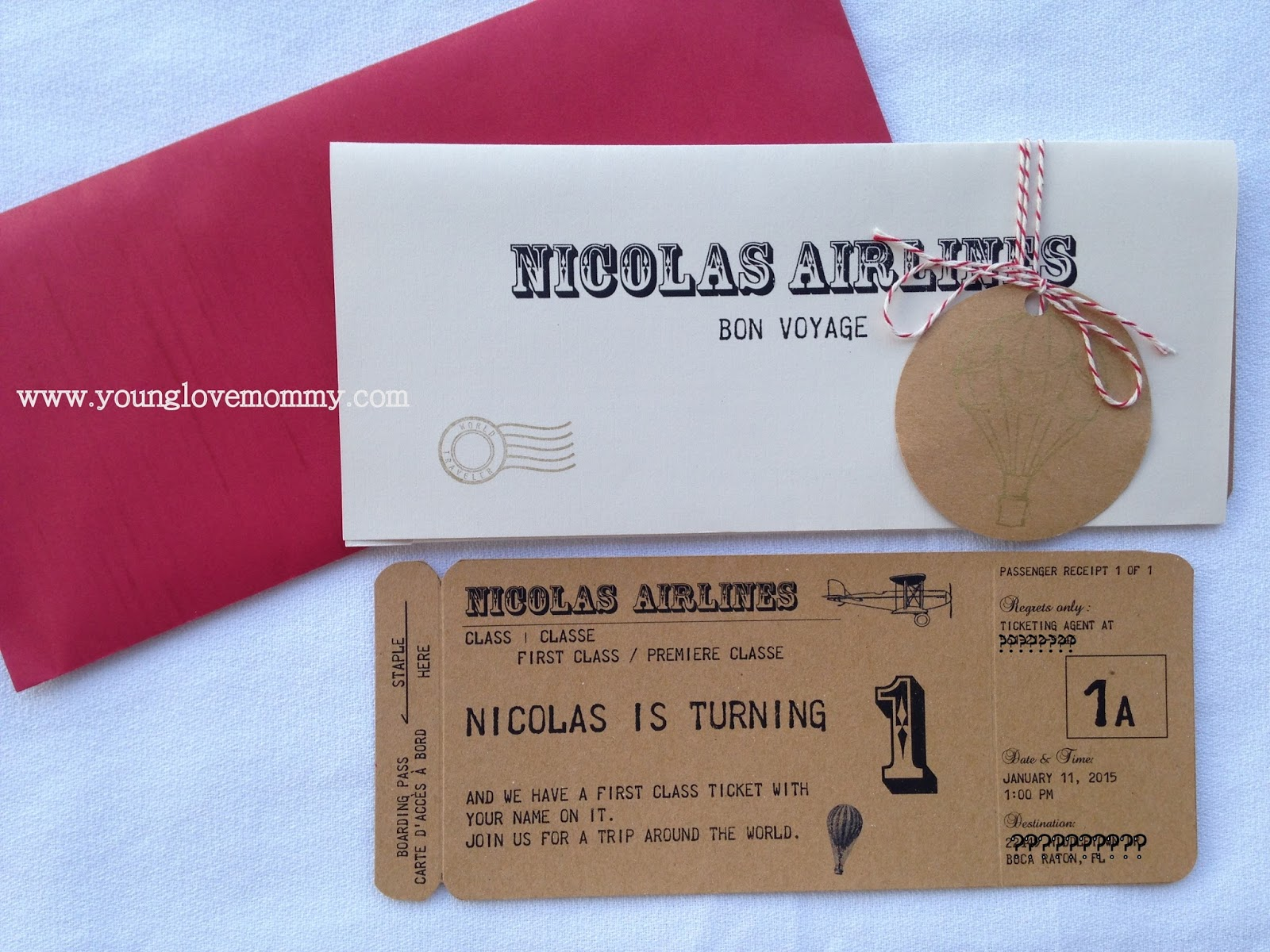 Vintage Airplane Party Airline Ticket Invitation