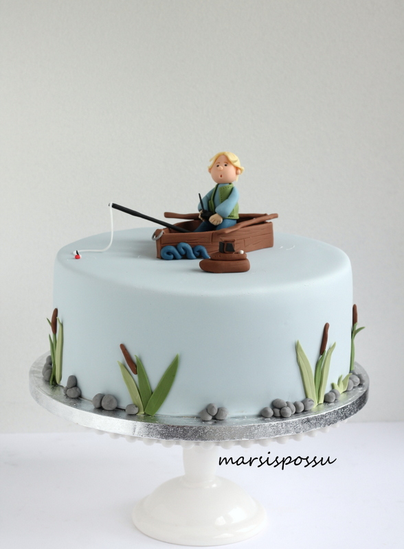Kalastusaiheinen kakku