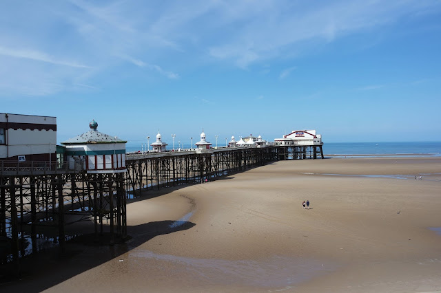 blackpool north pier and beach on a sunny day