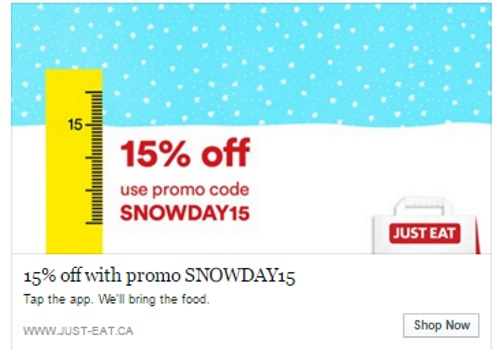 JustEat 15% Off Snow Day Promo Code