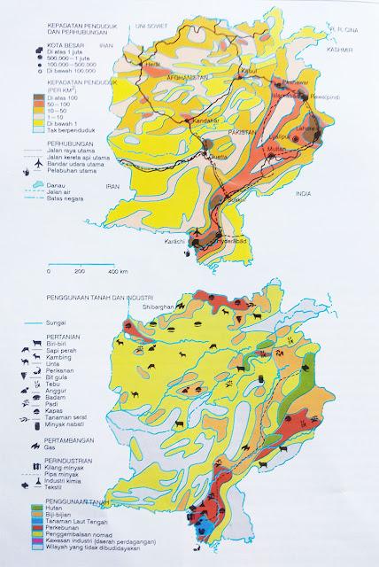 Gambar Peta kepadatan penduduk dan perhubungan Pakistan