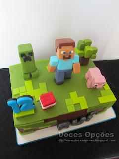 bolo minecraft bragança doces opções