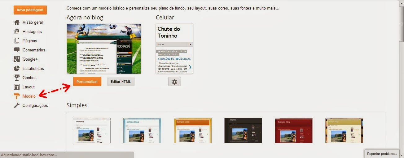 modificando layout no blogge