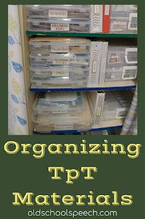 "picture of clear plastic boxes on shelves with ""Organizing TpT Materials"" below picture."