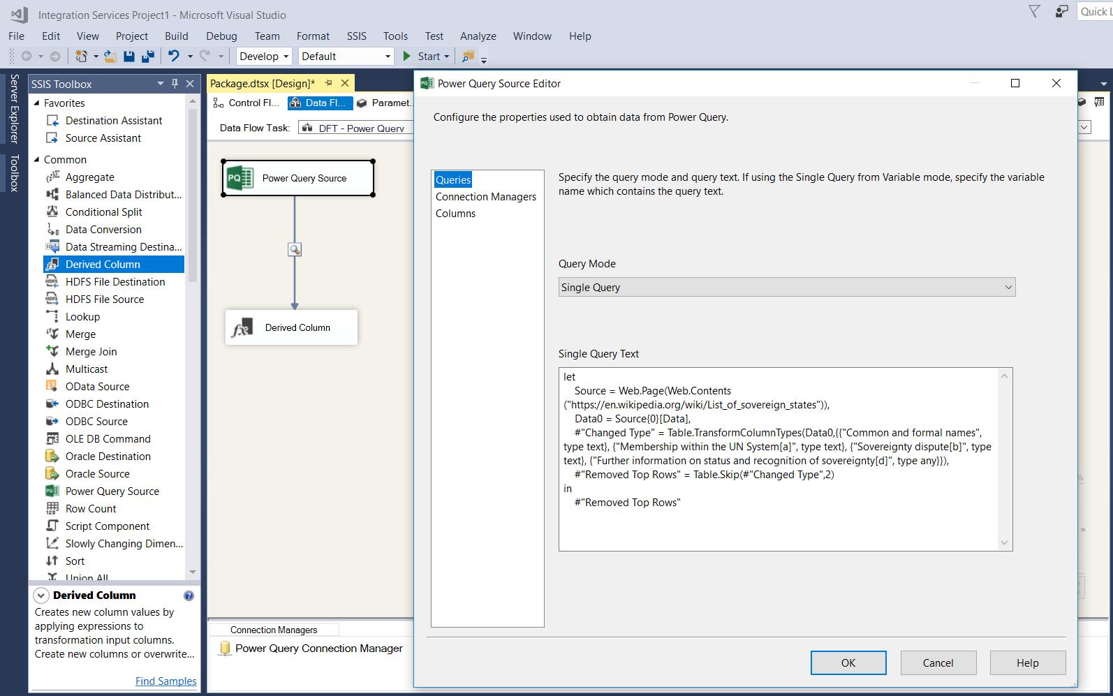Microsoft SQL Server Integration Services: Power Query