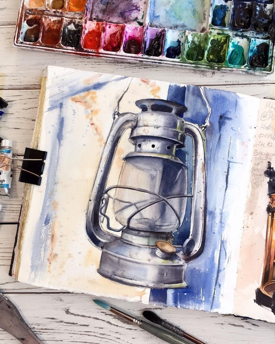 03-Oil-Lamp-Alena-Ponkratova-Street-Lamps-Oil-Lamps-and-Candle-Light-Lamps-Watercolors