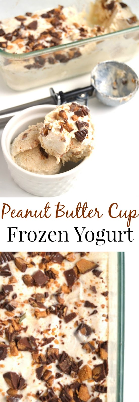 Peanut Butter Cup Frozen Yogurt is a healthier treat with only 3 ingredients, is packed full of protein with Greek yogurt and tastes like an indulgent dessert with chunks of creamy peanut butter cups and the creamiest ice cream base! www.nutritionistreviews.com