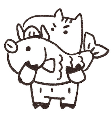 鯛を持ち上げる猪のイラスト(亥年)モノクロ線画