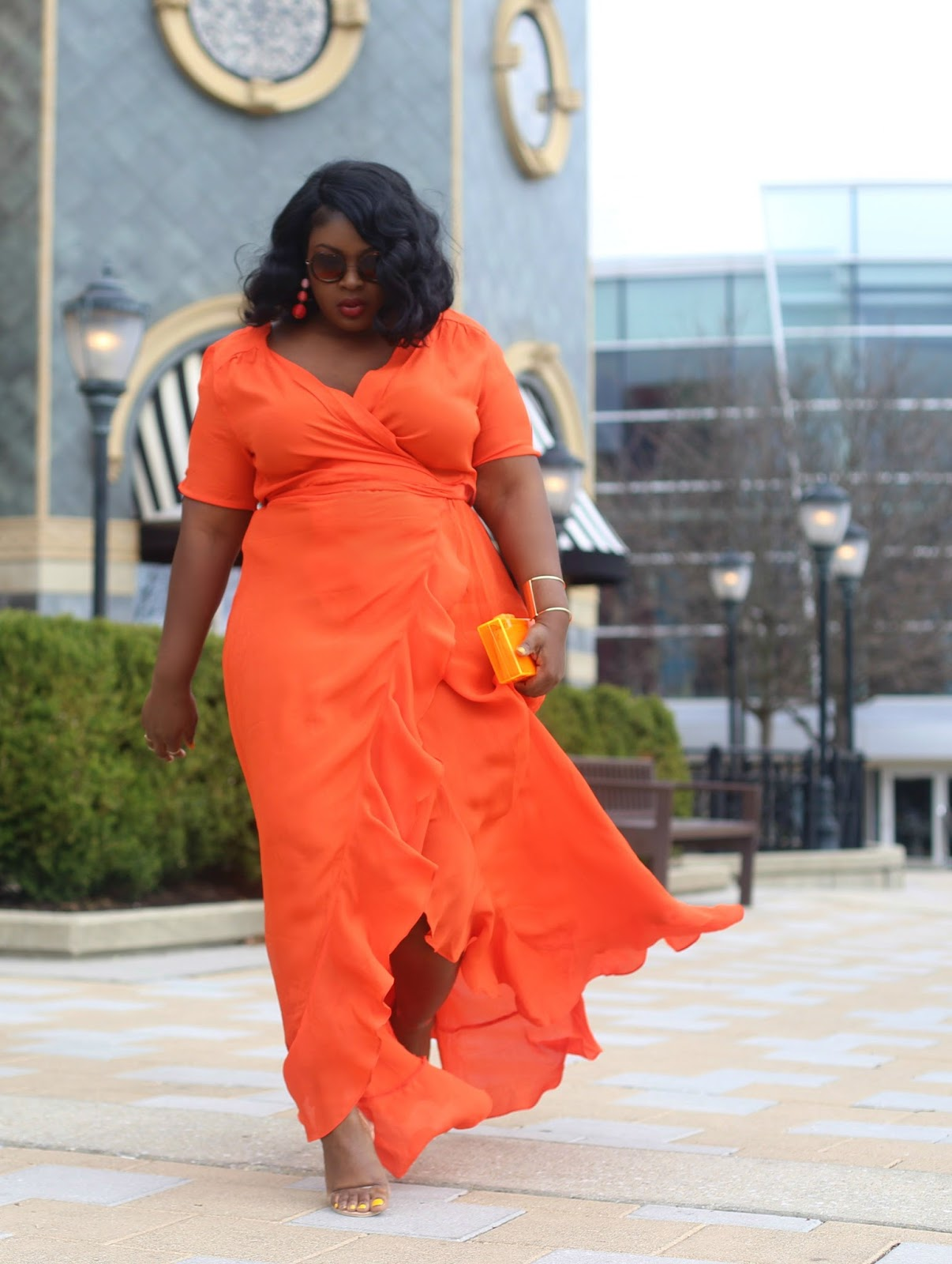 Asos Tall orange Maxi zara clutch Plus size