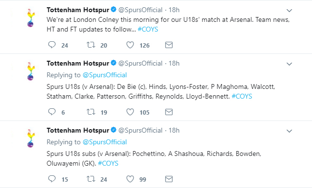 Tottenham's official Twitter account promise to livetweet their U18 game against Arsenal
