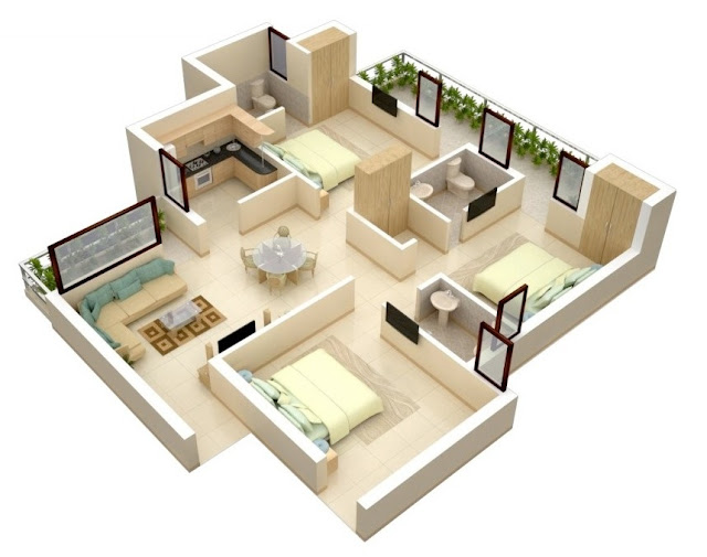 3D floor plans for medium 3 bedroom apartment design
