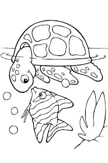 Baby Turtle With Fish At Lake Coloring Pages