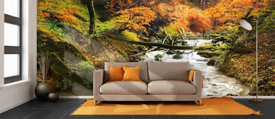 naturtapet höst fototapet bäck skogstapet fondtapet vardagsrum