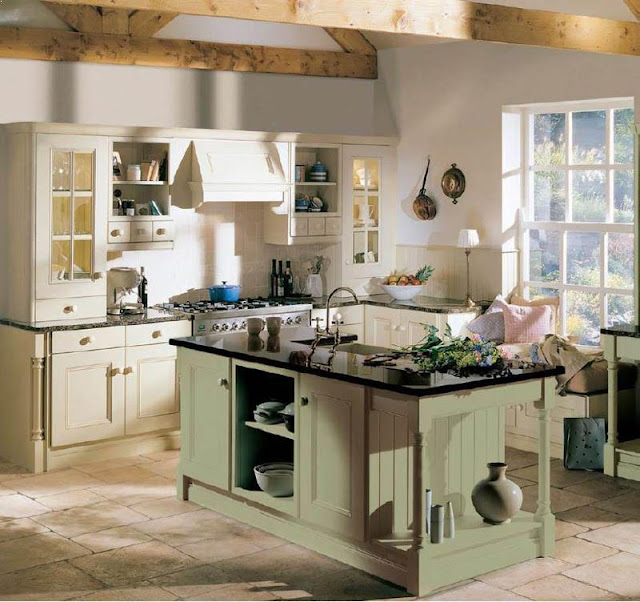 Small English Country Kitchen Ideas And Best Decorating Ideas With Light  Green Black Granite Countertops And