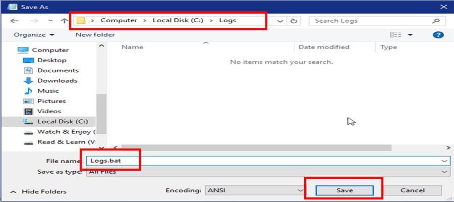 save to log folder