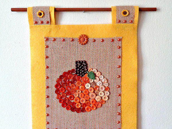 Buttons Galore & More: How To Make A DIY Button Pumpkin Wall Hanging