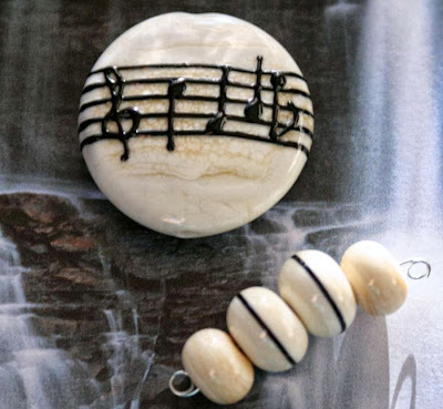 Lampwork glass, music notes on staff art bead by Heather Behrendeth :: All Pretty Things