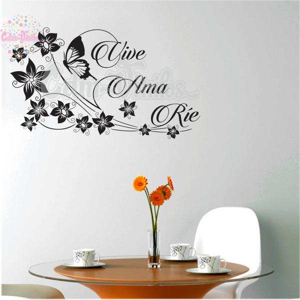 15fed586ecf vinilo decorativo mariposa floral frase rie ama vive pared ...
