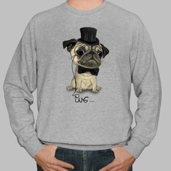 hipster illustration by Barruf, pug tshirt and hoodie
