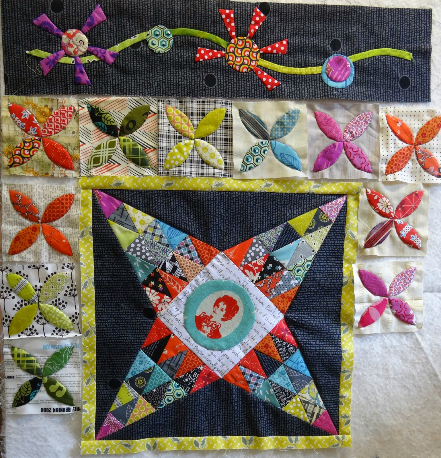 Elven Garden Quilts Flower Applique Border Midnight At