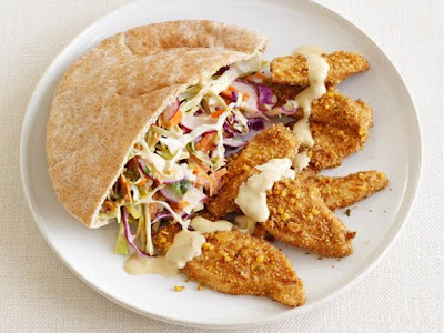 Falafel-Crusted Chicken With Hummus Slaw