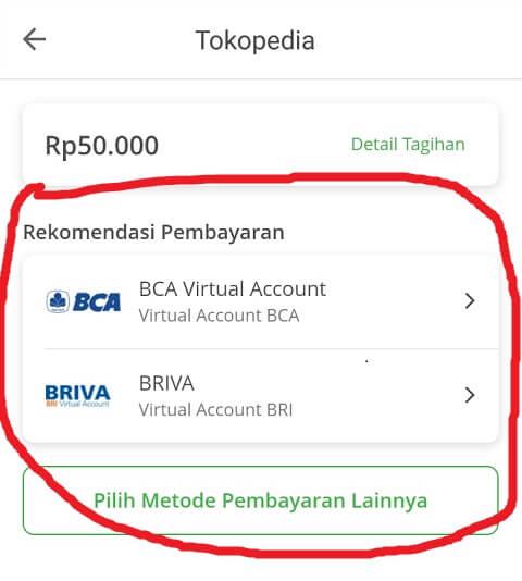 Pilih Metode Pembayaran Tokopedia