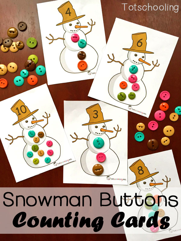 Snowman Buttons Counting Cards Free Printable. Toddler and preschool activity to learn numbers and counting 1-12.