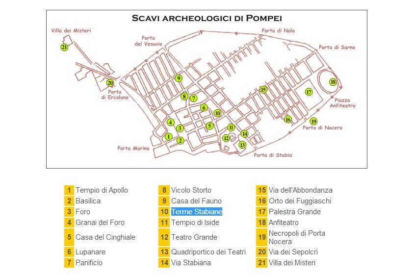 pompeii térkép Túra talján: Pompei