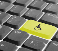 Wheelchair symbol on keyboard key and image of computer keyboard