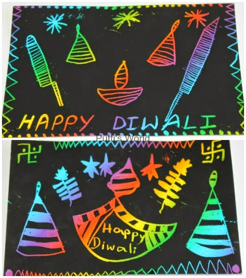 Easy Kids Craft - Diwali Scratch Art Cards