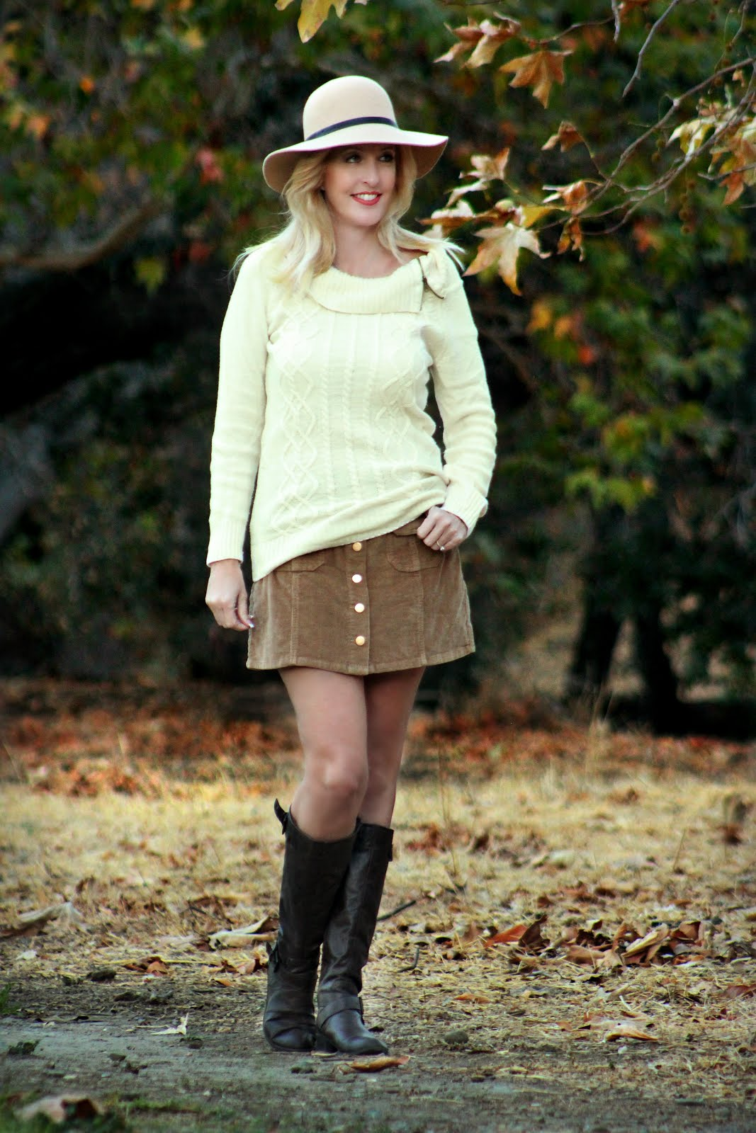 Corduroy Skirt & Cozy Knit Sweater