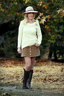 Corduroy Skirt & Cozy Knit Sweater