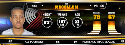 NBA 2K13 Trail Blazers CJ McCollum - Round 1 10th Overall