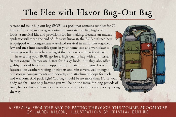 The Flee with Flavor Bug Out Bag from The Art of Eating Through the Zombie Apocalypse by Lauren Wilson, illustrations by Kristian Bauthus #zpocwinter