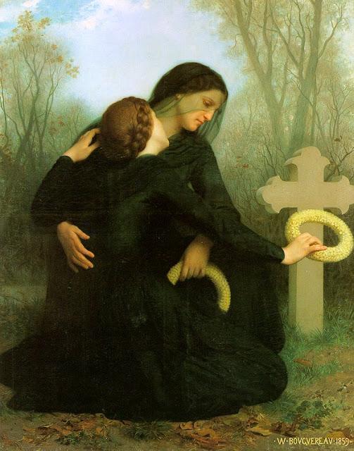 William-Adolphe Bouguereau, painting, malerei, bild, poetische Art, tod, tränen, trauer, friedhof, am grab, ohnmacht, vermissen, herz, gebete, seele