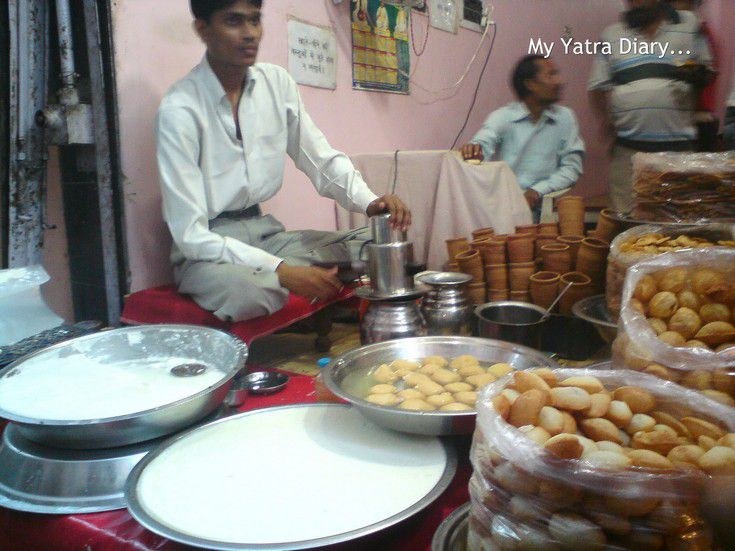 A food chaat shop in Vrindavan serving lassi, pani puri, etc