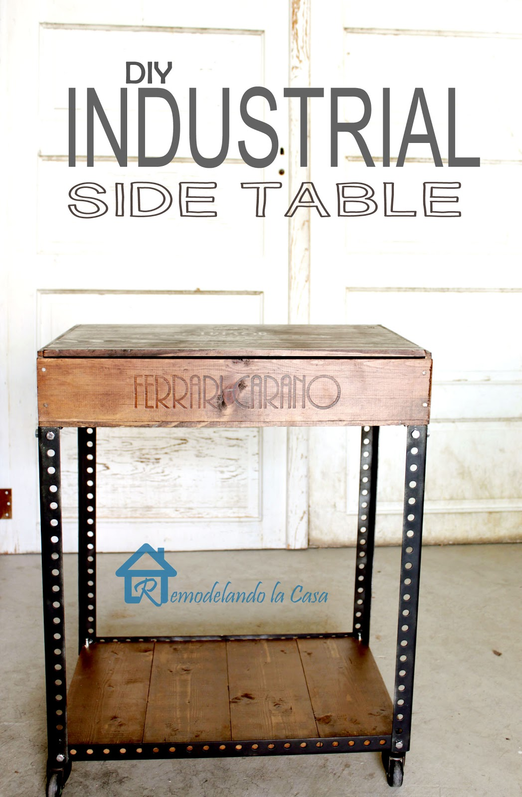 an industrial side table made of reclaimed products.