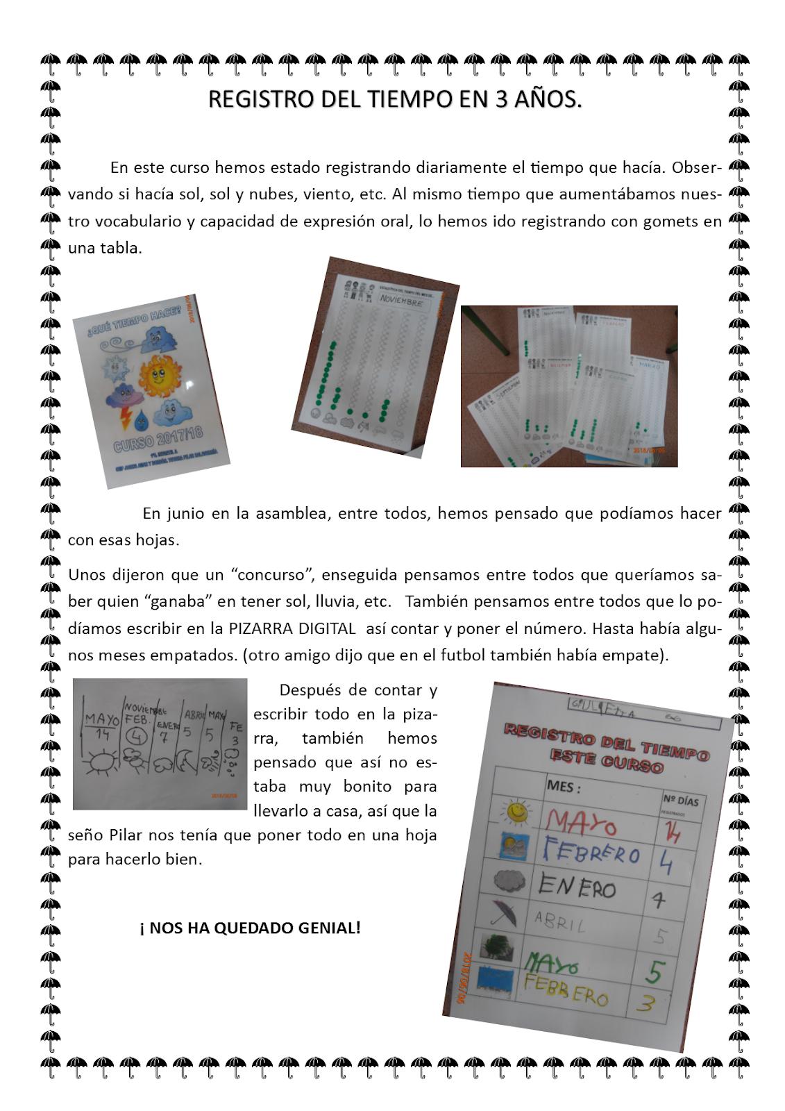 LOS PEQUES DEL JOSEFA AMAR Y BORBÓN: REGISTRO DEL TIEMPO