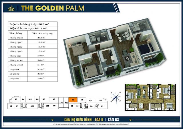 Mặt bằng căn B3 tòa B chung cư The Golden Palm