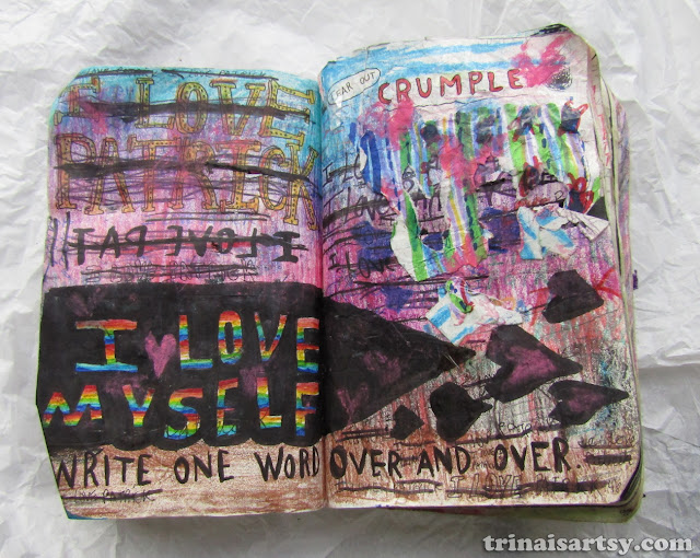 Wreck this Journal -  Write one word over and over breakup page #1